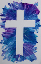finger paint and cross outline