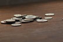 spilt silver coins