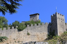 castle walls and blue sky