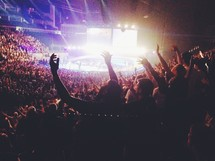 Arena audience with arms raised.