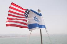 American and Israeli flag