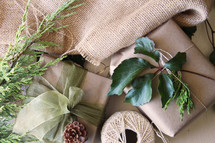 brown paper wrapped gifts