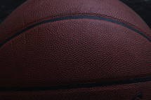 Closeup of a basketball.