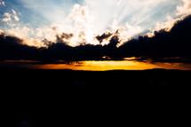 A golden sunset at dusk.