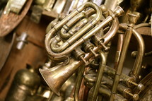 Brass trumpets in an antique musical instrument shop