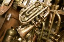 Brass trumpets in an antique musical instrument shop