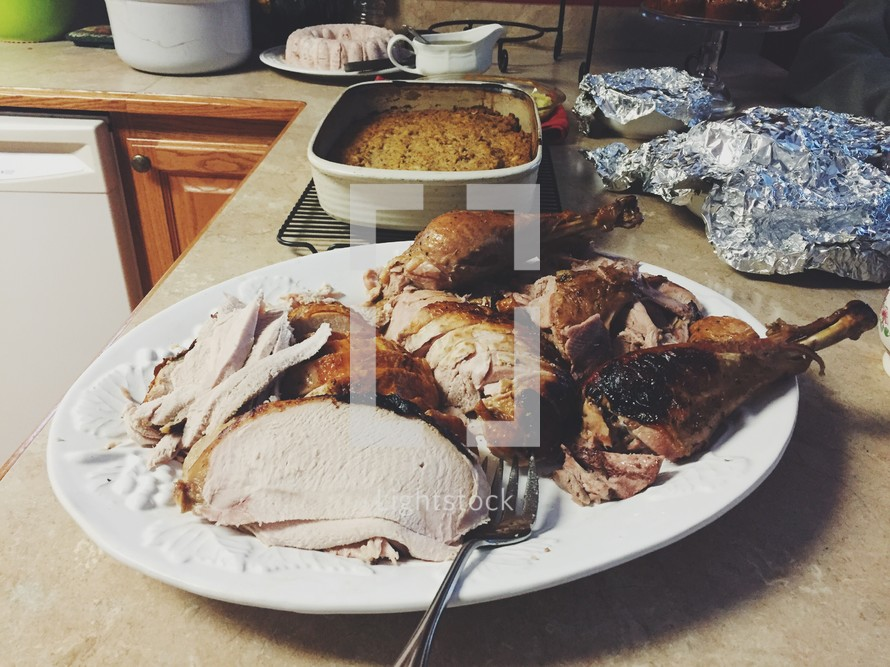 carved turkey on a platter
