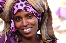 woman wearing a traditional head scarf