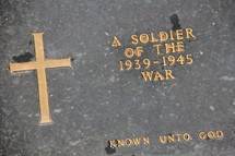 memorial marker for a unknown fallen soldier