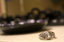 Class ring laying on a table