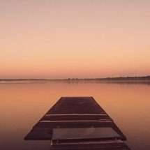 a floating dock in a lake