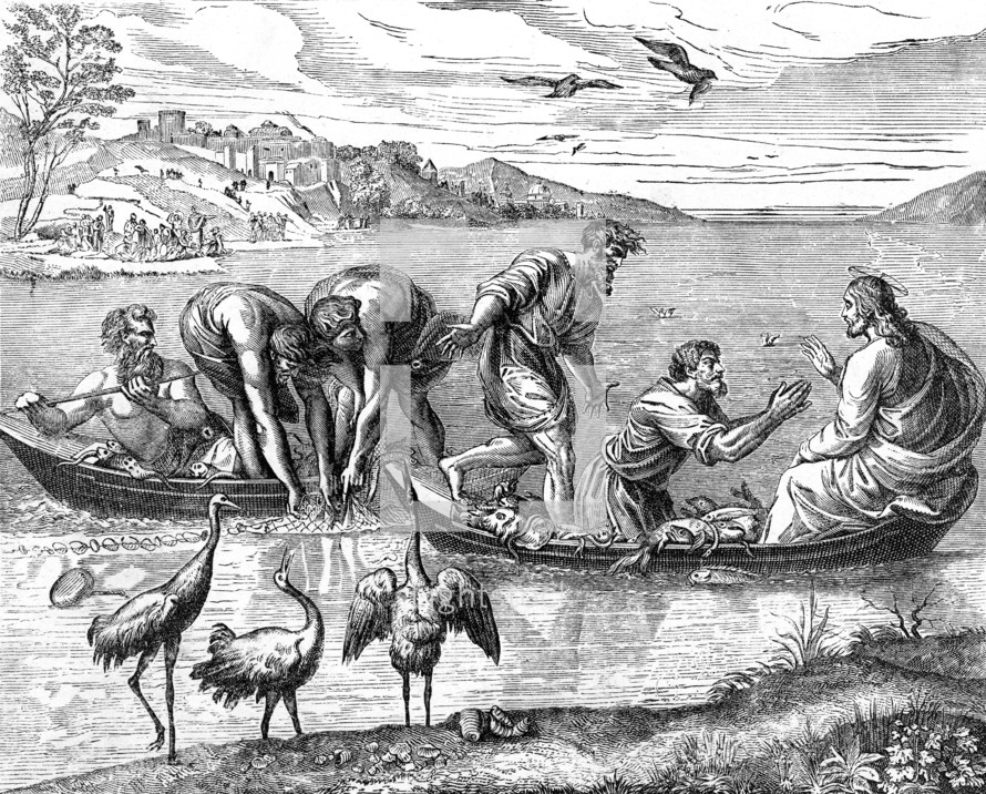 A drawing of the miracle of the fish.