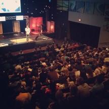 sermon at a contemporary worship service