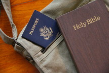 Mission trip, passport, sling bag and Bible