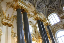 Marble columns and gold embellishing in the Winter Palace, St Petersburg
