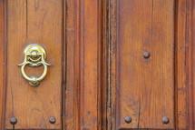 Brass door knocker on an old wooden door