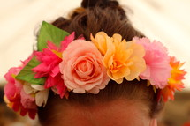 flowers in a girls hair