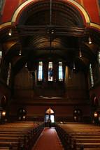 rows of pews in Trinity Church, Boston