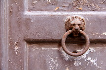 Rusted Lion door pull on weathered, antique, brown painted, door