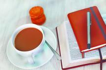 coffee, Bible, journal, pen, Bible study, lunch
