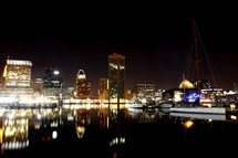 City buildings and lights reflected in a lake at night.
