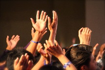 Hands raised in praise and worship