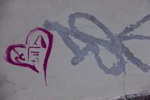 Valentine's heart graffiti on a concrete wall