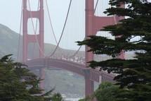 An orange suspension bridge.