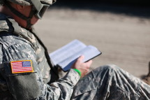 Soldier reading the Bible