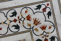 decorative flowers in tile detail
