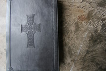 Cover of bible with cross embossed