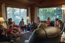 women sitting around at a retreat having a discussion