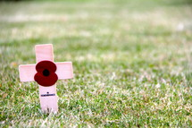 Remembrance cross and red poppy from the fields of Flanders, France, site of World War 1 battles