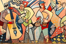 Abstract painting of Cuban street musicians
