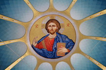 Painting of Jesus Christ on the ceiling of an Albanian Orthodox Church