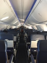 aisle and seats on an airplane
