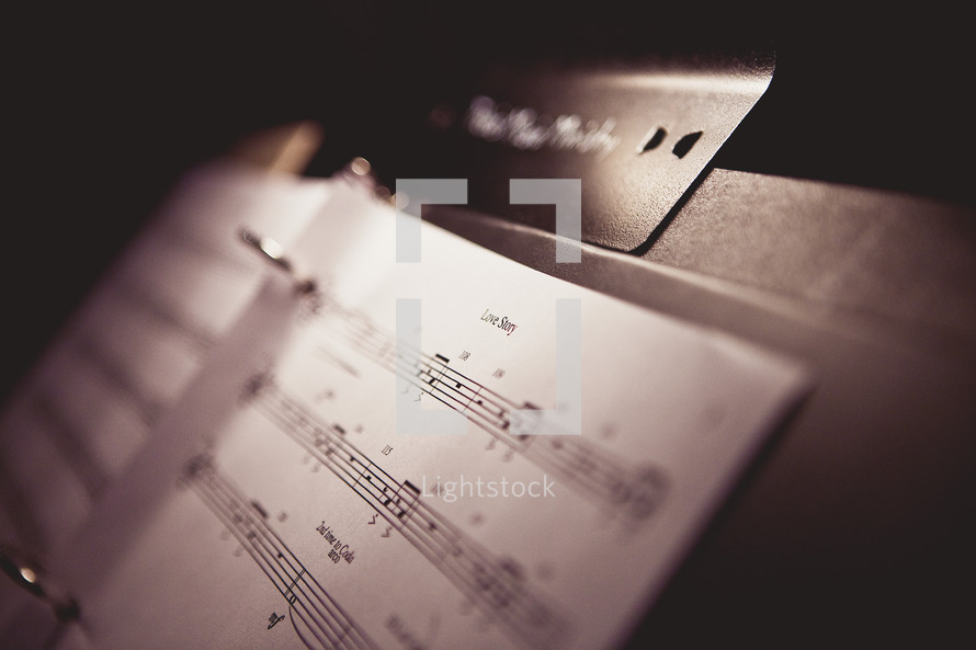 Sheet music on a stand
