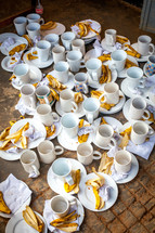 coffee cups and banana peels
