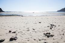 Sandy beach at the ocean.