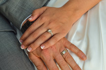 Husband and wife's hands