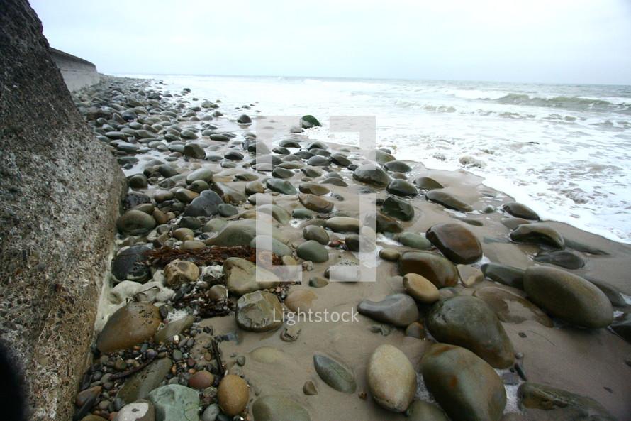 rocks and peebles on a beach