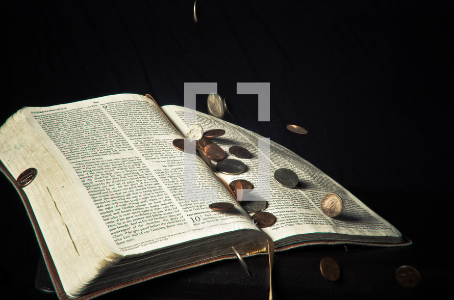 Coins on Bible