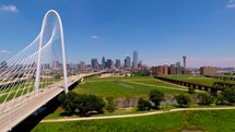 drone flying over the Margaret Hunt Hill bridge in Dallas