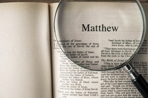 Matthew under a magnifying glass