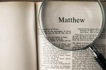 Matthew under a magnifying glass