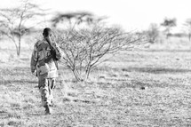 soldier guarding the African border