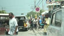 busy street in Haiti