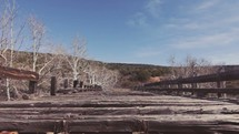 Dilapidated wooden bridge.