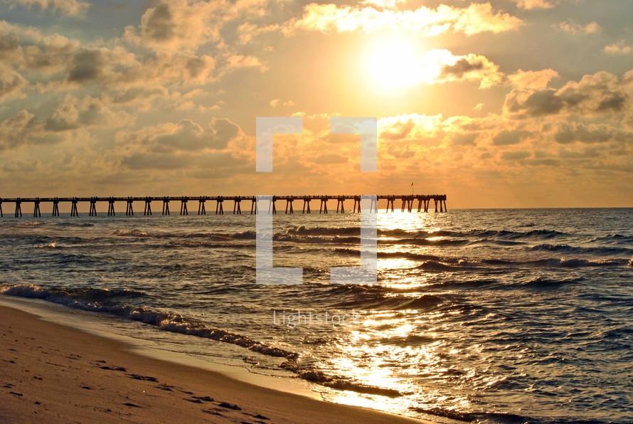 Daybreak at the fishing pier on Pensacola Beach, Florida.