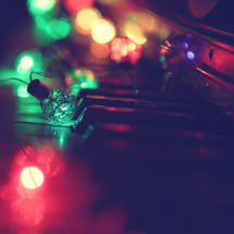 retro coloured lights on keyboard close up